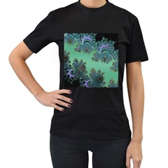 Celtic Symbolic Fractal Design in Green Women s Two Sided T-shirt (Black)