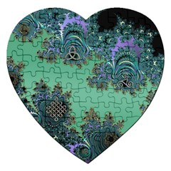 Celtic Symbolic Fractal Design in Green Jigsaw Puzzle (Heart)