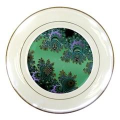 Celtic Symbolic Fractal Design In Green Porcelain Display Plate