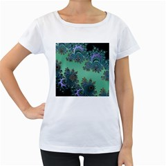 Celtic Symbolic Fractal Design in Green Women s Maternity T-shirt (White)