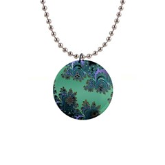 Celtic Symbolic Fractal Design in Green Button Necklace