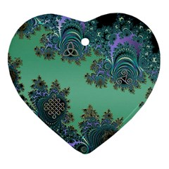 Celtic Symbolic Fractal Design In Green Heart Ornament (two Sides)