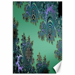 Celtic Symbolic Fractal Design in Green Canvas 12  x 18  (Unframed)