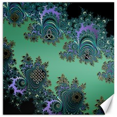 Celtic Symbolic Fractal Design In Green Canvas 16  X 16  (unframed)