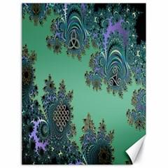 Celtic Symbolic Fractal Design in Green Canvas 18  x 24  (Unframed)