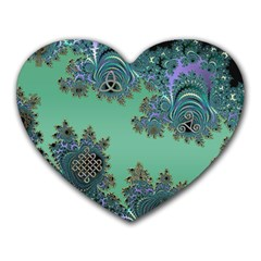 Celtic Symbolic Fractal Design in Green Mouse Pad (Heart)