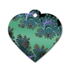 Celtic Symbolic Fractal Design in Green Dog Tag Heart (One Sided)