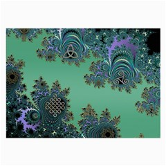 Celtic Symbolic Fractal Design In Green Glasses Cloth (large, Two Sided)