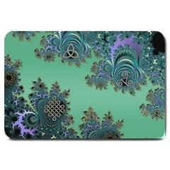 Celtic Symbolic Fractal Design in Green Large Door Mat