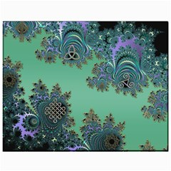Celtic Symbolic Fractal Design In Green Canvas 11  X 14  (unframed)