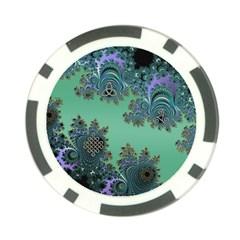 Celtic Symbolic Fractal Design in Green Poker Chip