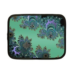 Celtic Symbolic Fractal Design In Green Netbook Sleeve (small)