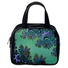 Celtic Symbolic Fractal Design in Green Classic Handbag (One Side)