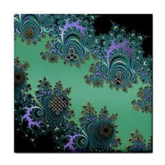 Celtic Symbolic Fractal Design In Green Face Towel