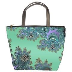 Celtic Symbolic Fractal Design in Green Bucket Handbag