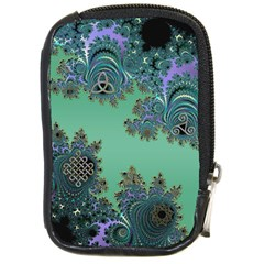 Celtic Symbolic Fractal Design in Green Compact Camera Leather Case