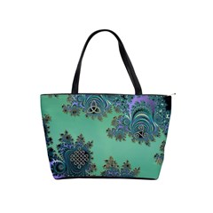 Celtic Symbolic Fractal Design in Green Large Shoulder Bag