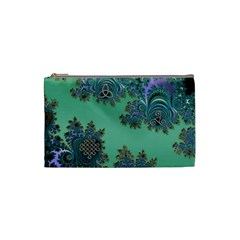 Celtic Symbolic Fractal Design in Green Cosmetic Bag (Small)