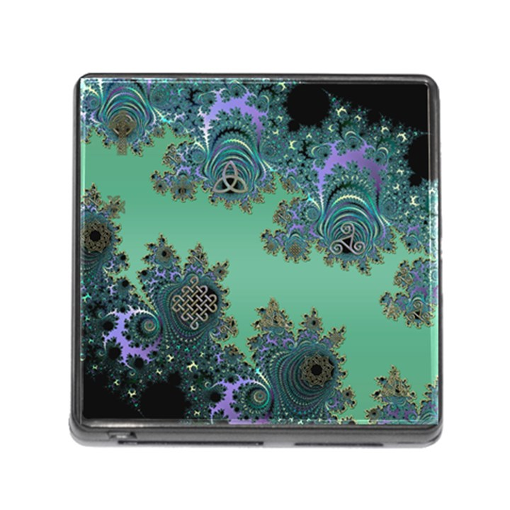Celtic Symbolic Fractal Design in Green Memory Card Reader with Storage (Square)