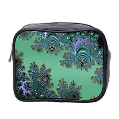 Celtic Symbolic Fractal Design In Green Mini Travel Toiletry Bag (two Sides)