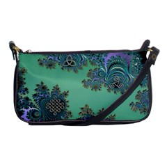 Celtic Symbolic Fractal Design in Green Evening Bag