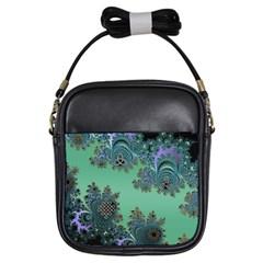 Celtic Symbolic Fractal Design in Green Girl s Sling Bag