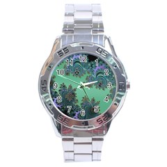 Celtic Symbolic Fractal Design in Green Stainless Steel Watch