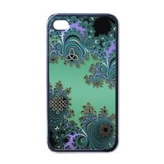 Celtic Symbolic Fractal Design in Green Apple iPhone 4 Case (Black)