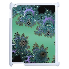 Celtic Symbolic Fractal Design in Green Apple iPad 2 Case (White)