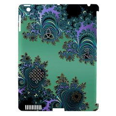Celtic Symbolic Fractal Design in Green Apple iPad 3/4 Hardshell Case (Compatible with Smart Cover)