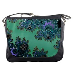 Celtic Symbolic Fractal Design in Green Messenger Bag