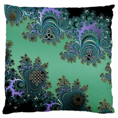 Celtic Symbolic Fractal Design in Green Large Cushion Case (Two Sided)