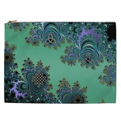 Celtic Symbolic Fractal Design in Green Cosmetic Bag (XXL)
