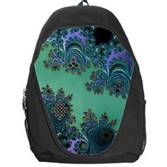 Celtic Symbolic Fractal Design in Green Backpack Bag