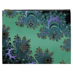 Celtic Symbolic Fractal Design in Green Cosmetic Bag (XXXL)