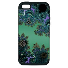 Celtic Symbolic Fractal Design In Green Apple Iphone 5 Hardshell Case (pc+silicone)
