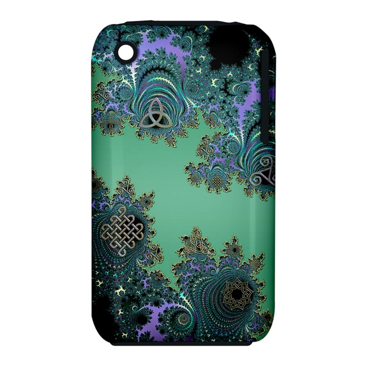 Celtic Symbolic Fractal Design in Green Apple iPhone 3G/3GS Hardshell Case (PC+Silicone)