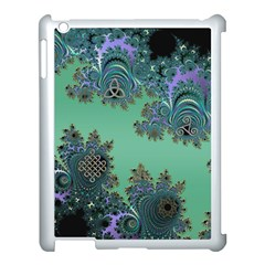 Celtic Symbolic Fractal Design in Green Apple iPad 3/4 Case (White)