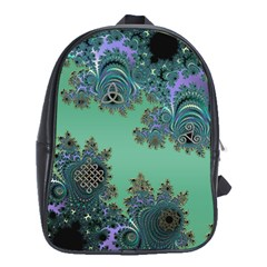 Celtic Symbolic Fractal Design in Green School Bag (XL)