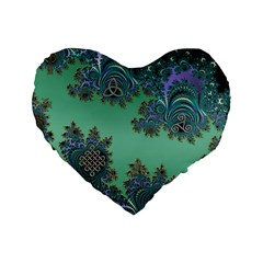 Celtic Symbolic Fractal Design in Green 16  Premium Heart Shape Cushion