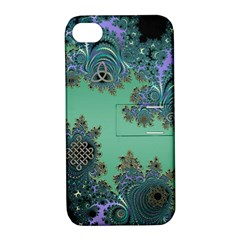 Celtic Symbolic Fractal Design in Green Apple iPhone 4/4S Hardshell Case with Stand