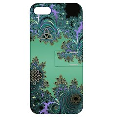 Celtic Symbolic Fractal Design In Green Apple Iphone 5 Hardshell Case With Stand