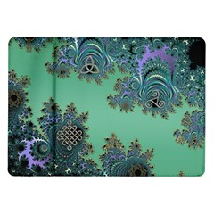 Celtic Symbolic Fractal Design In Green Samsung Galaxy Tab 10 1  P7500 Flip Case