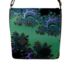 Celtic Symbolic Fractal Design in Green Flap Closure Messenger Bag (Large)