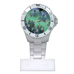 Celtic Symbolic Fractal Design in Green Nurses Watch