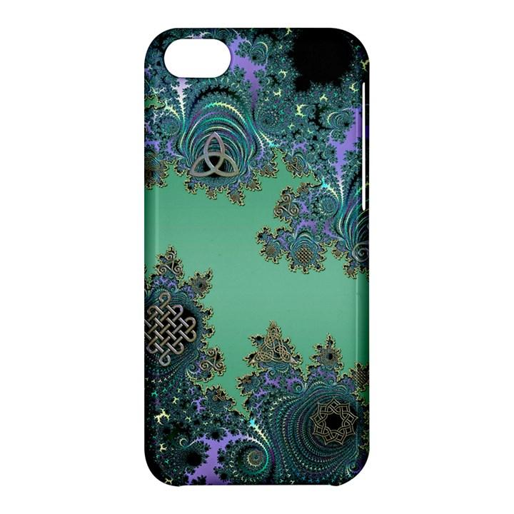 Celtic Symbolic Fractal Design in Green Apple iPhone 5C Hardshell Case