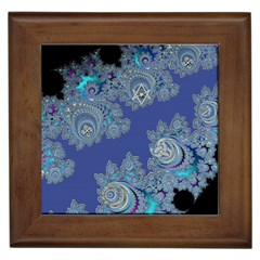 Blue Metallic Celtic Fractal Framed Ceramic Tile
