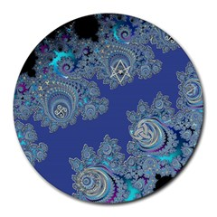 Blue Metallic Celtic Fractal 8  Mouse Pad (round)
