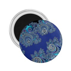 Blue Metallic Celtic Fractal 2.25  Button Magnet