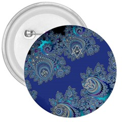 Blue Metallic Celtic Fractal 3  Button